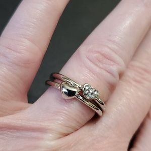 *Sale** Silver tone set of hearts rings